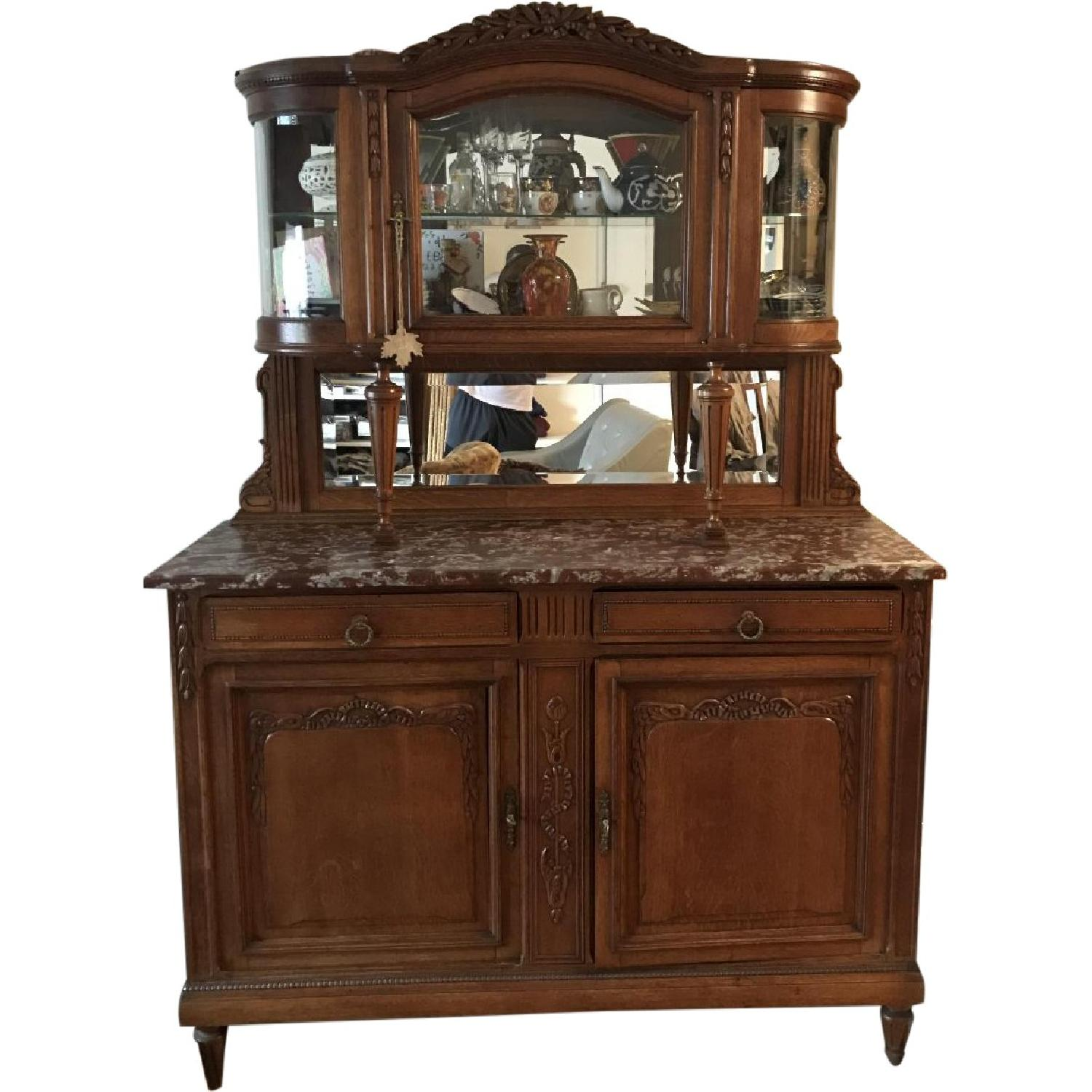 French Antique Handmade Buffet/China Cabinet - image-0