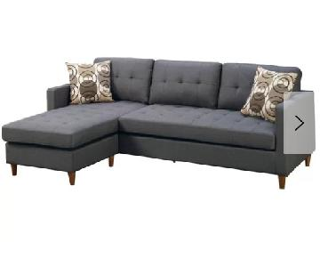 Ebern Designs Grey Linen 2-Piece Reversible Sectional Sofa