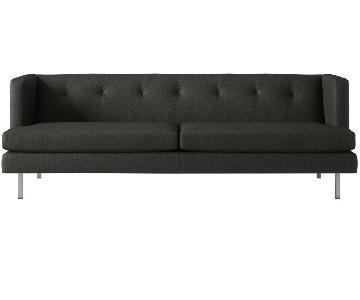 CB2 Avec Sofa in Dark Grey w/ 2 Matching Chairs