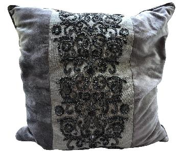 Decorative Pillow w/ Light Brown Embroidery