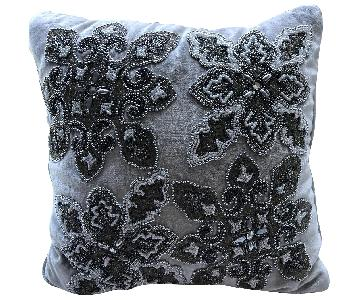 Decorative Pillow w/ Grey Embroidery