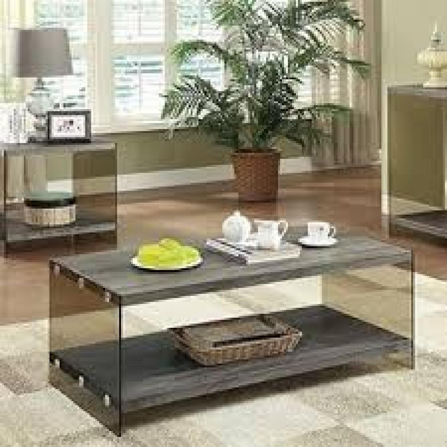 Weathered Grey Modern Coffee Table - image-1