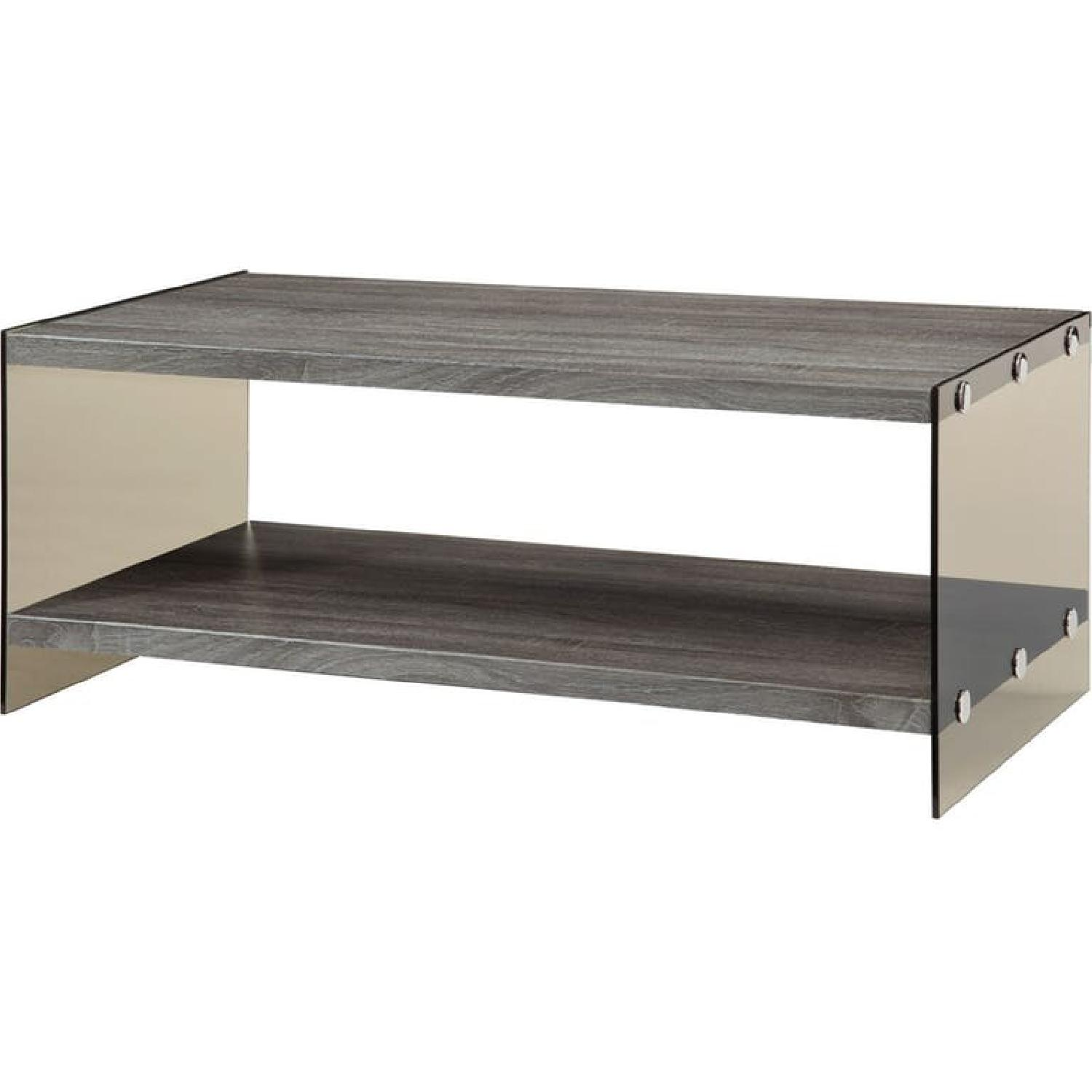 Weathered Grey Modern Coffee Table - image-2