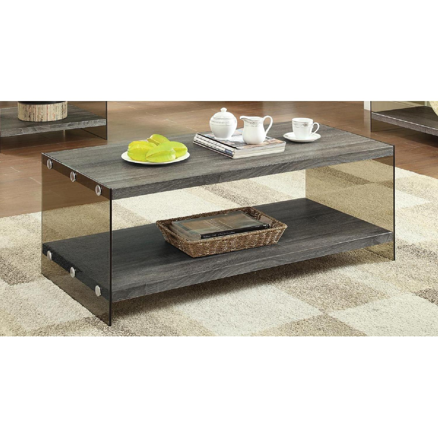 Weathered Grey Modern Coffee Table - image-3