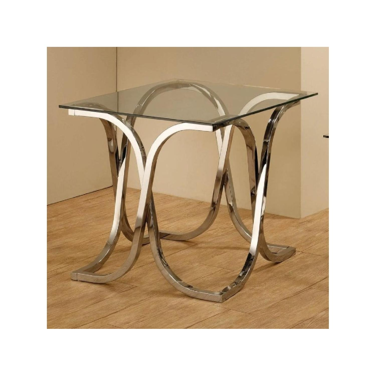 Contemporary Glass End Table in Nickel Finish - image-3