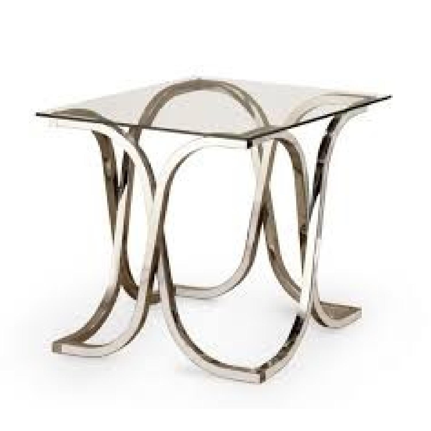 Contemporary Glass End Table in Nickel Finish - image-0