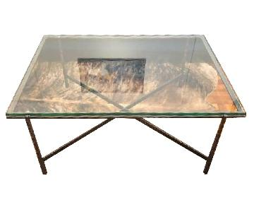 Crate & Barrel Glass & Iron Coffee Table
