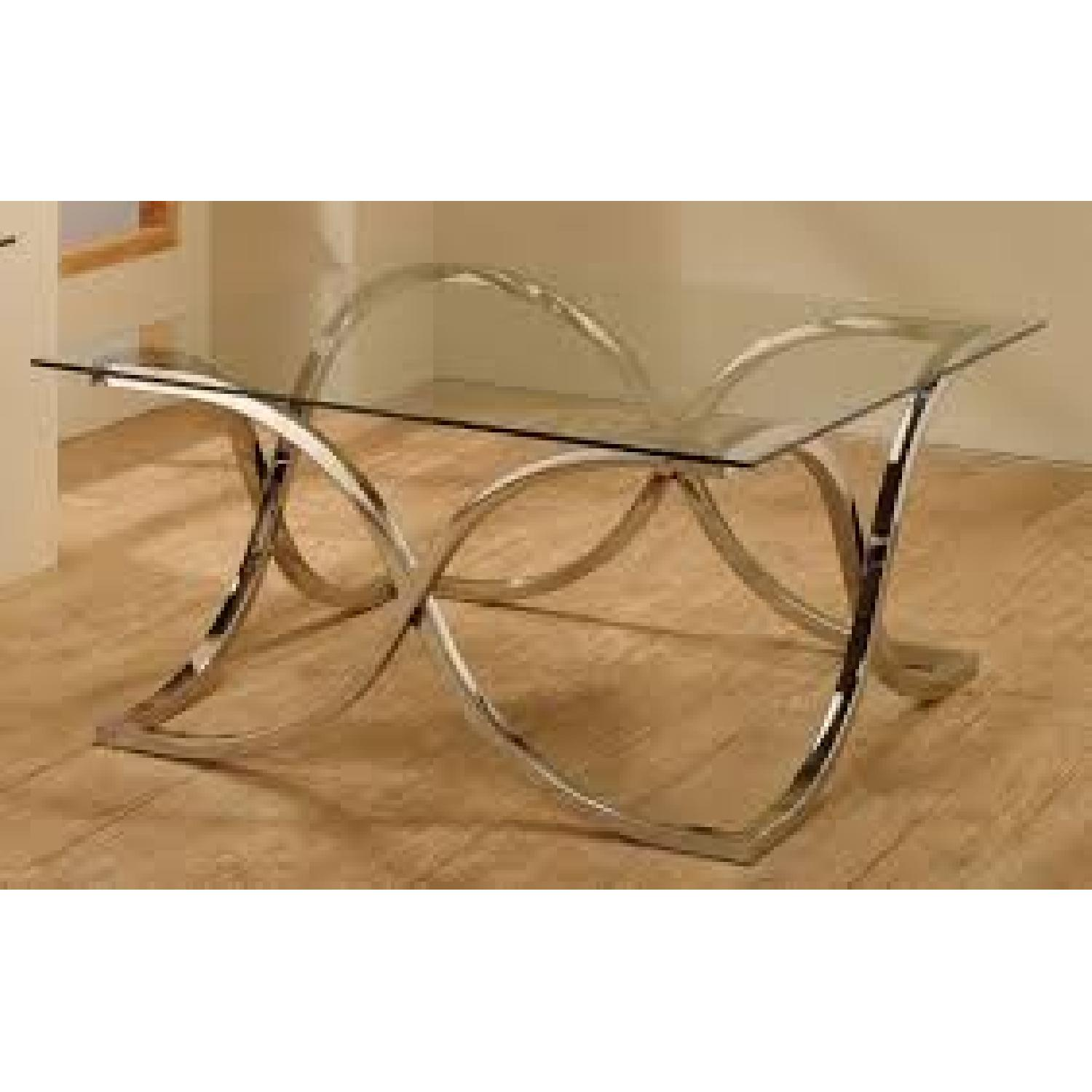 Contemporary Glass Coffee Table with Nickel Finish - image-1