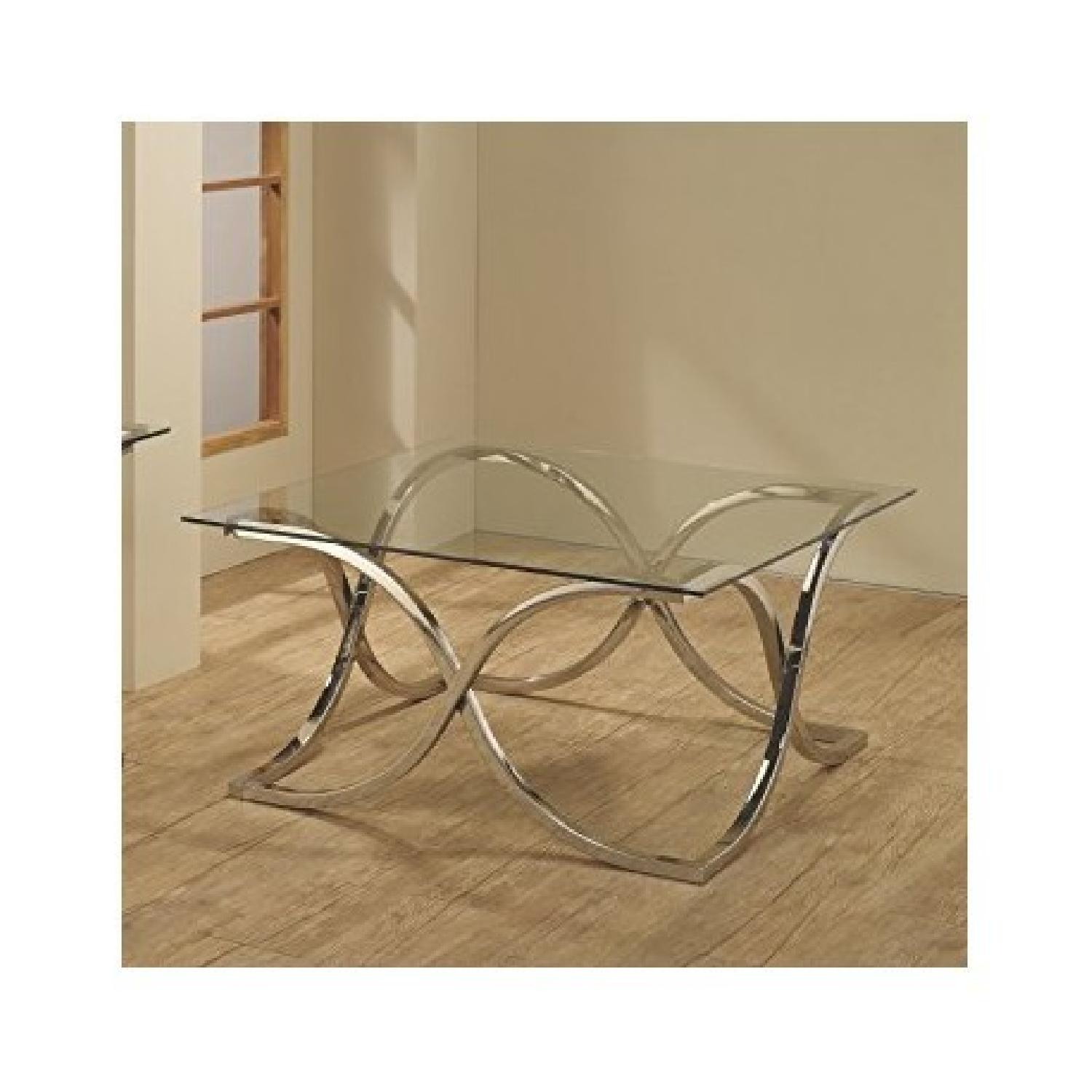 Contemporary Glass Coffee Table with Nickel Finish - image-2