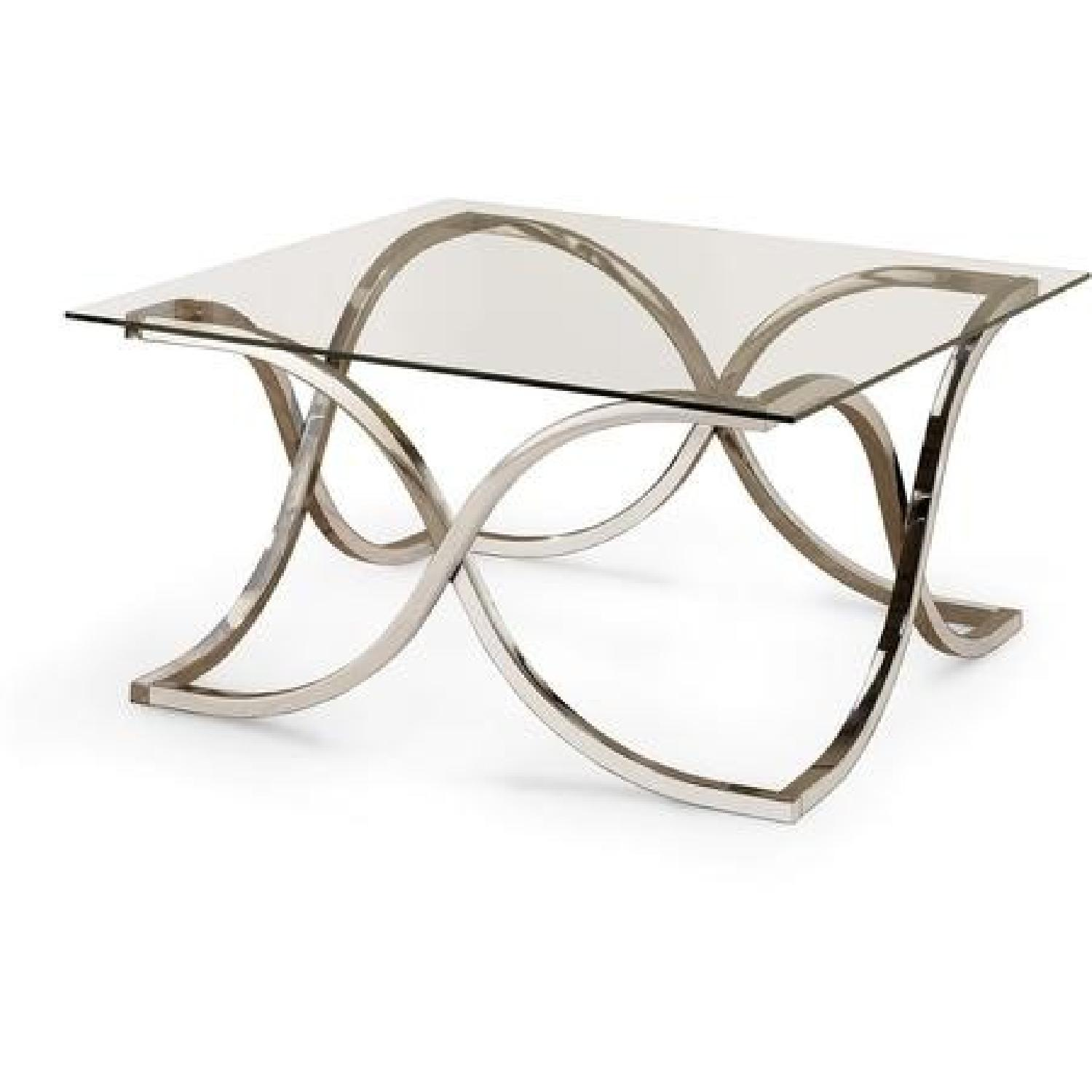 Contemporary Glass Coffee Table with Nickel Finish - image-0