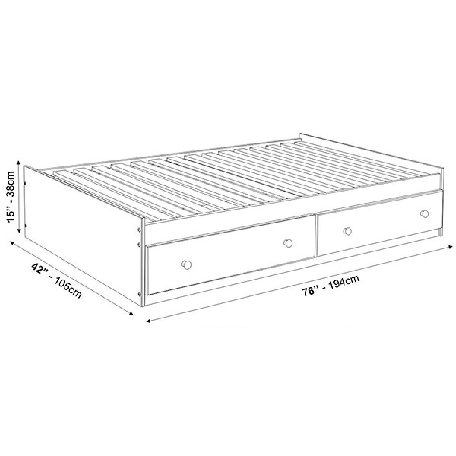 Twin Size Solid Wood Bed in Mahogany w/ Storage Drawers - image-4