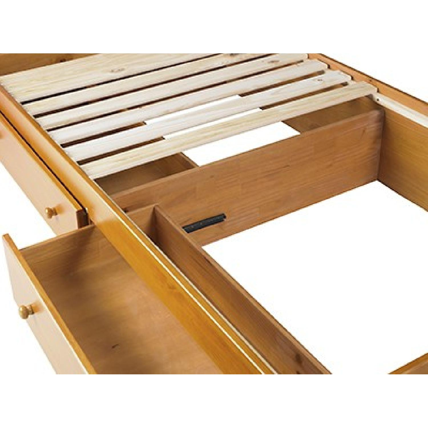 Twin Size Solid Wood Bed in Mahogany w/ Storage Drawers - image-5