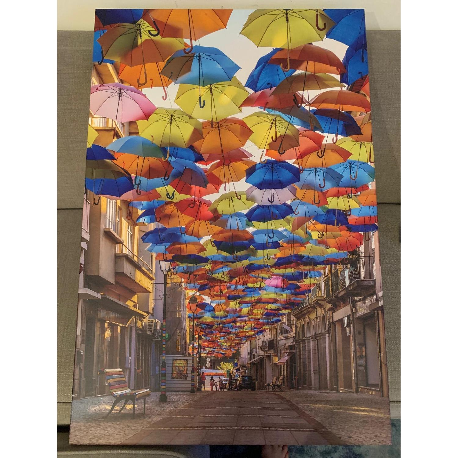 Colorful Floating Umbrellas Canvas Print-2