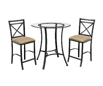 DHP Valerie 3-Piece Black & Beige Counter Height Dining Set