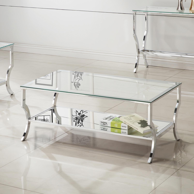 Modern Glass Top Coffee Table - image-2