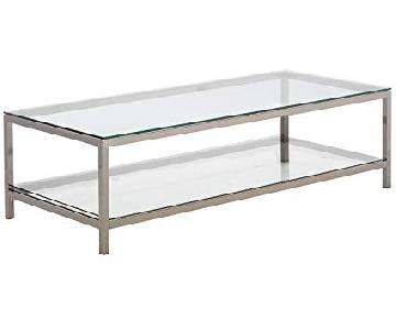 Glass Top Coffee Table in Black Nickel Finish