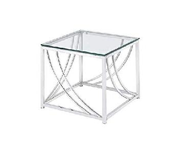 Glass Top End Table w/ Chrome Accents