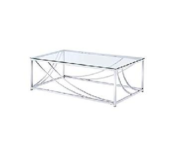 Glass Top Coffee Table w/ Chrome Accents