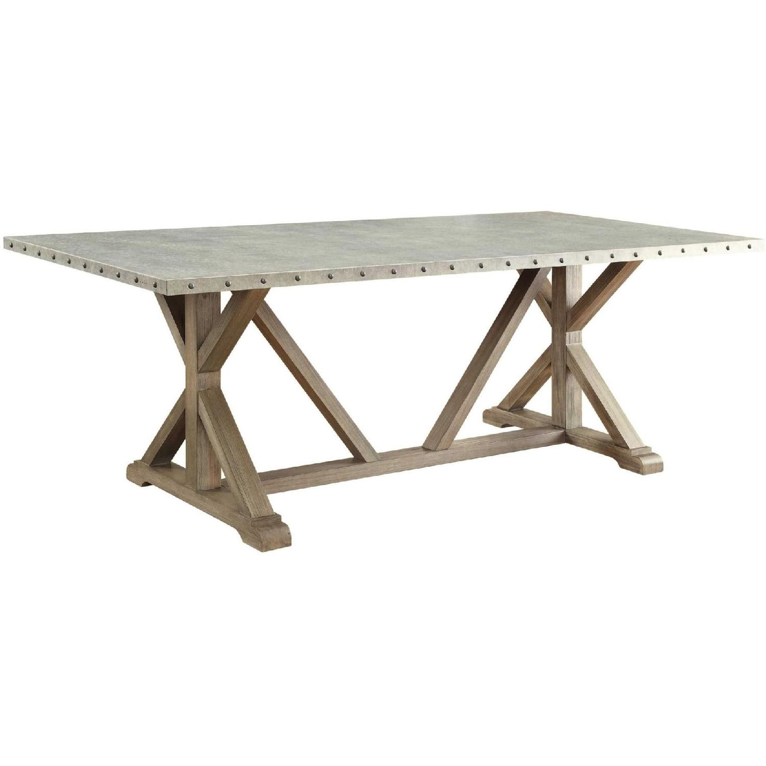 Industrial Modern Dining Table w/ Zinc Metal Wrapped Top - image-0
