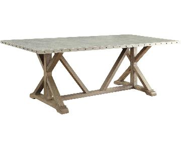 Industrial Modern Dining Table w/ Zinc Metal Wrapped Top