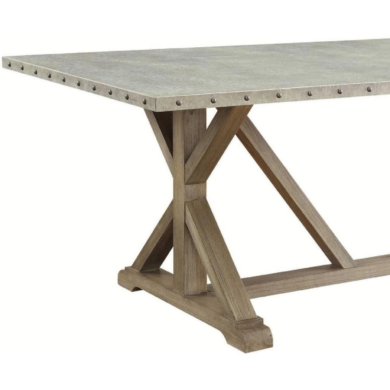 Industrial Modern Dining Table w/ Zinc Metal Wrapped Top - image-1