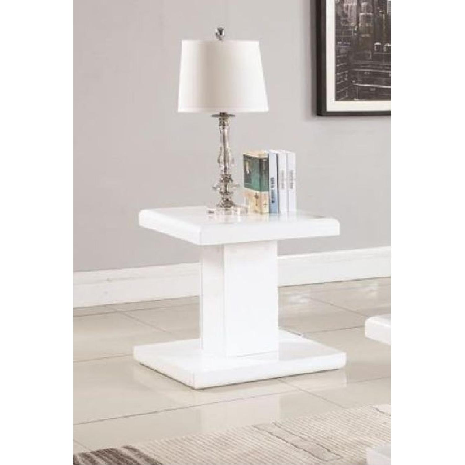 Modern Glossy White End Table - image-1