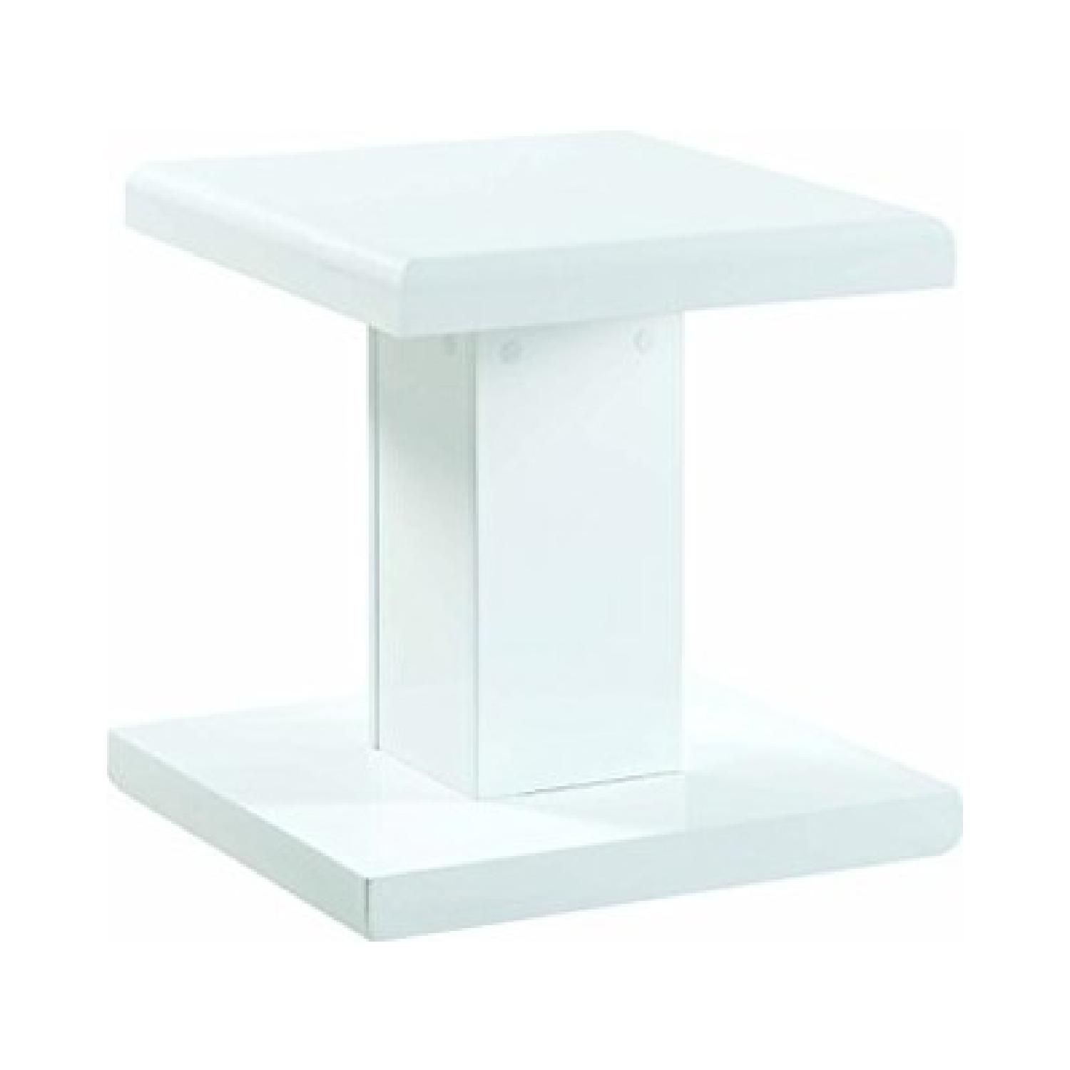 Modern Glossy White End Table - image-0
