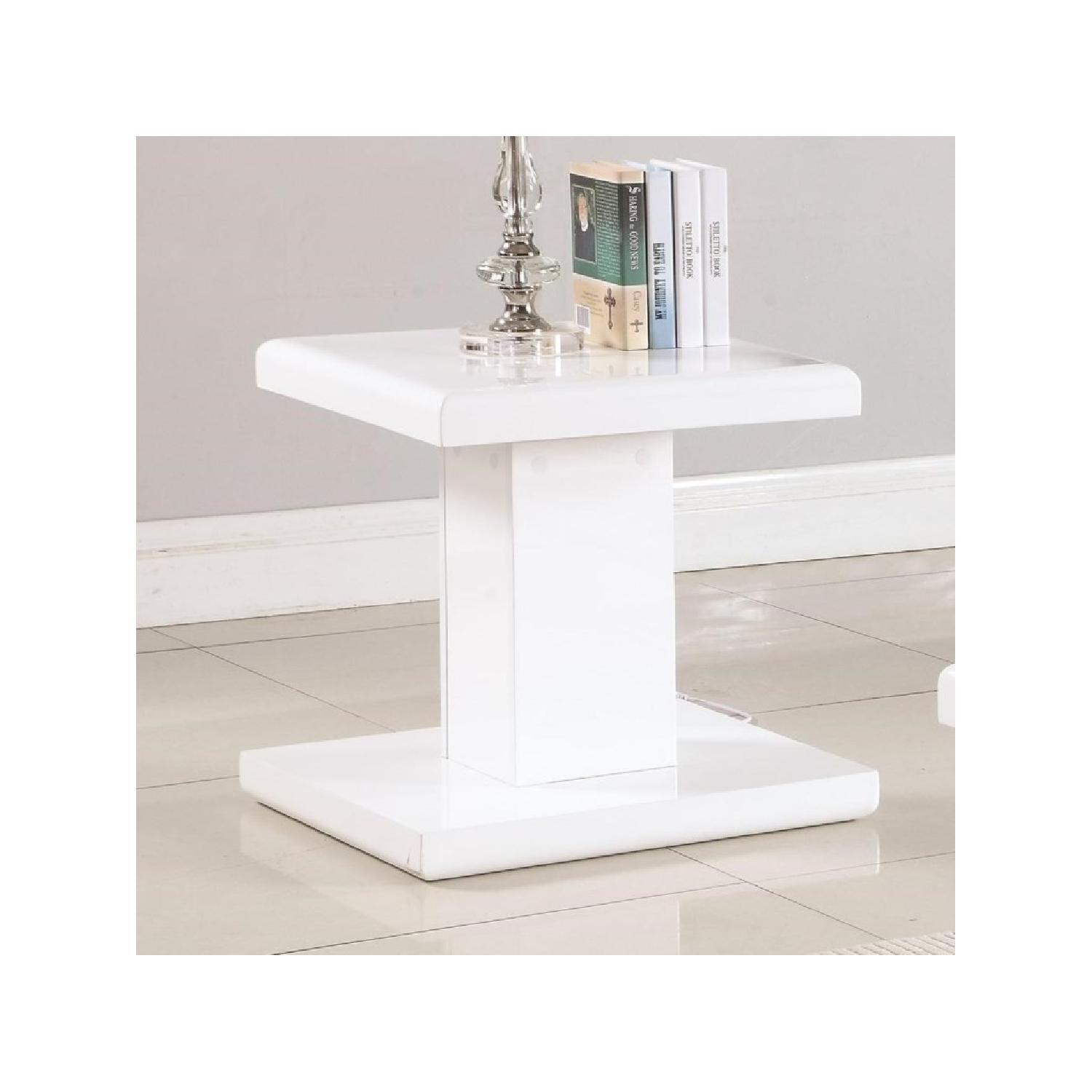 Modern Glossy White End Table - image-2
