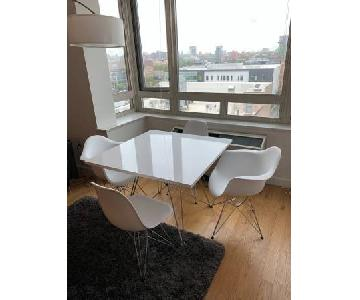 Square White Dining Table w/ 4 Chairs