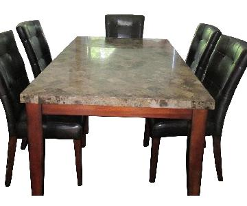 Room & Board Marble Top Dining Table w/ 5 Chairs