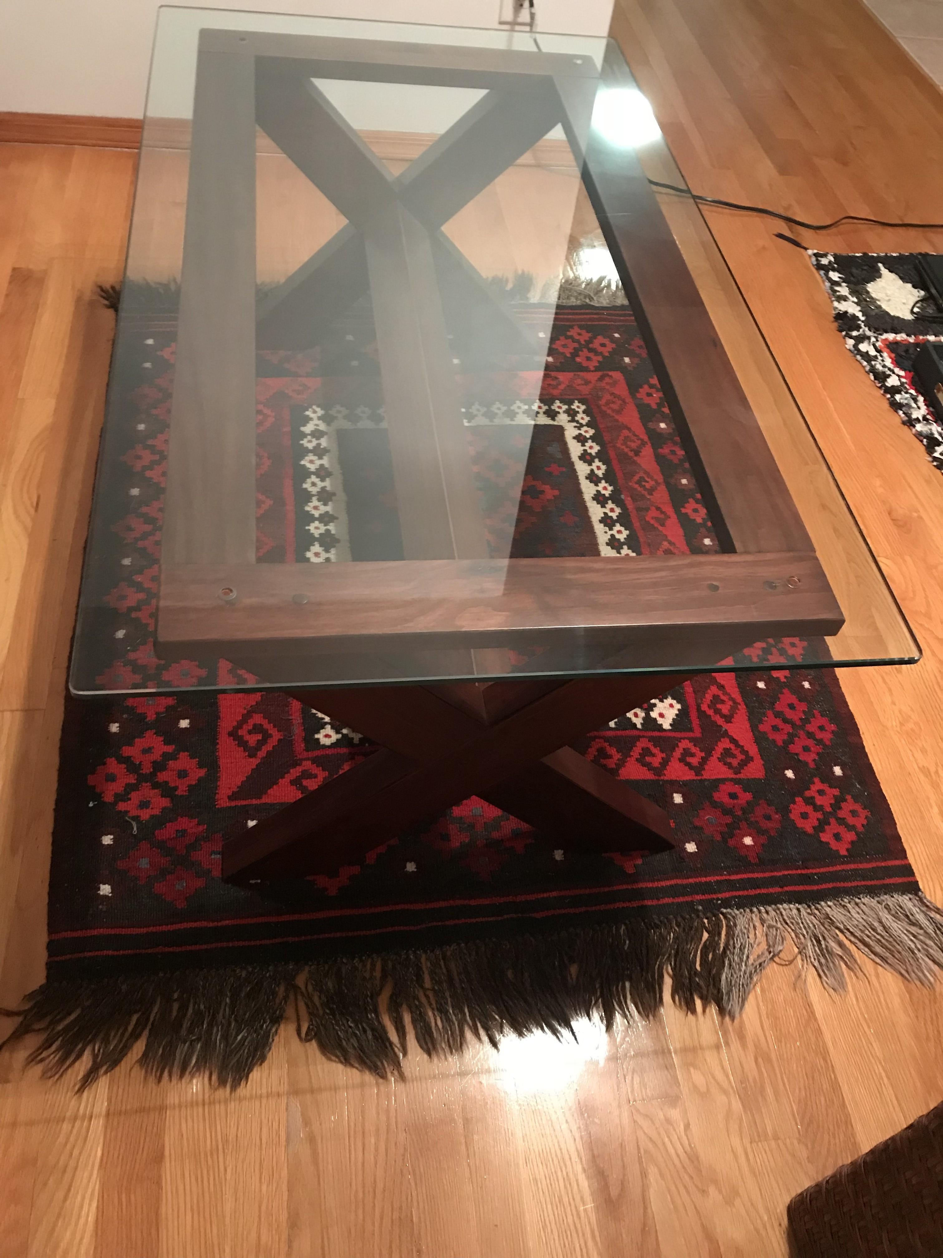 Ashley Cherry Wood Coffee Table w/ Glass Top