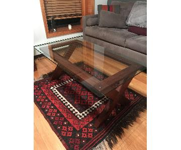 Ashley Cherry Wood Coffee Table w/ Glass Top