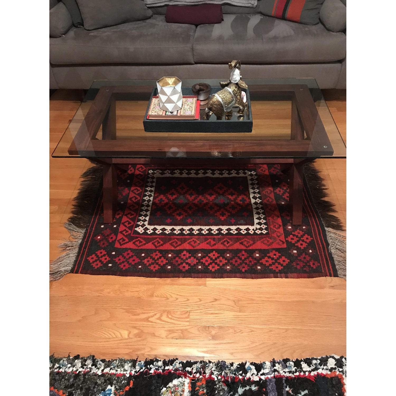 Ashley Cherry Wood Coffee Table w/ Glass Top-3
