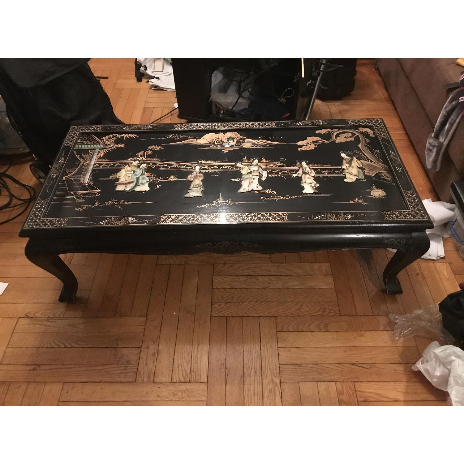 Antique Black Lacquer Mother of Pearl Figurine Coffee Table - image-1