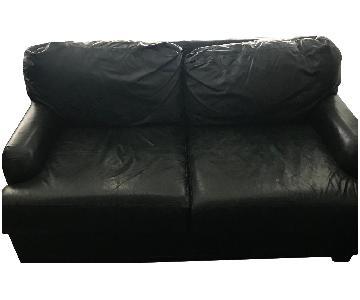 Dark Green Leather Loveseat
