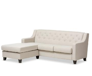 Beige Fabric 2-Piece Sectional Sofa w/ Throw Pillows