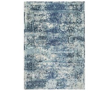 Vintage Bohemian Color Washed Floral Rug in Ocean