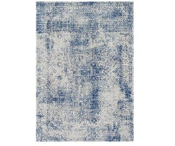 Transitional Faded Shadow Mystique Area Rug in Blue