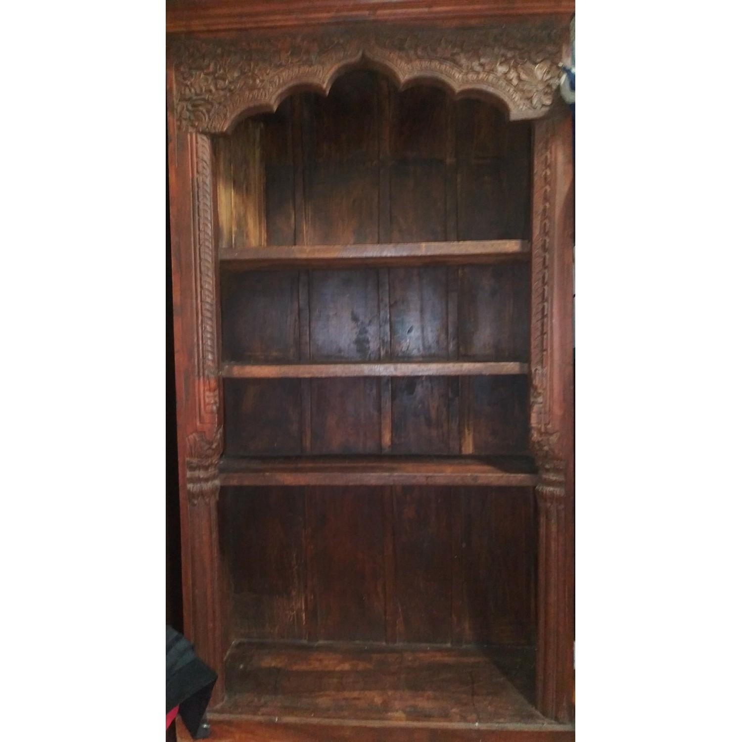 Hand Carved Wood Bookcase