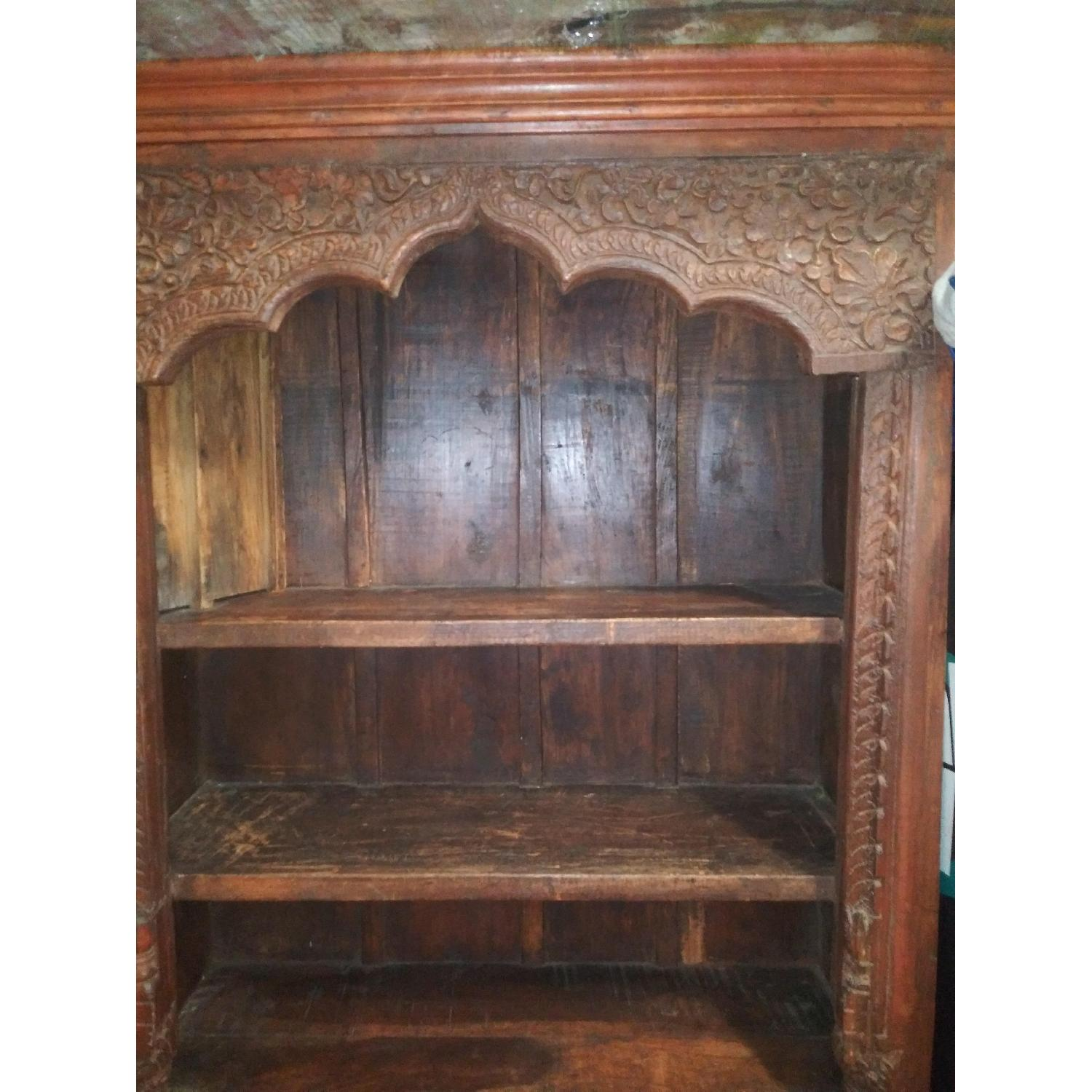 Hand Carved Wood Bookcase-1