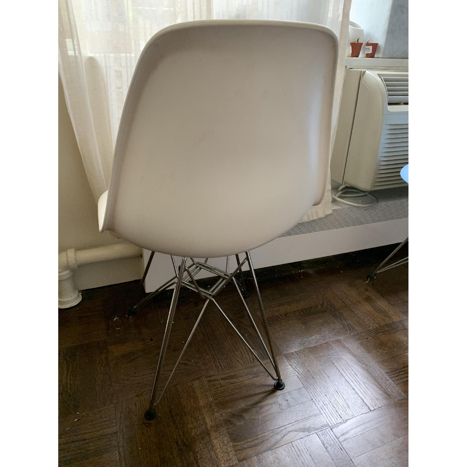 White Mid Century Chair w/ Wire Base - image-1