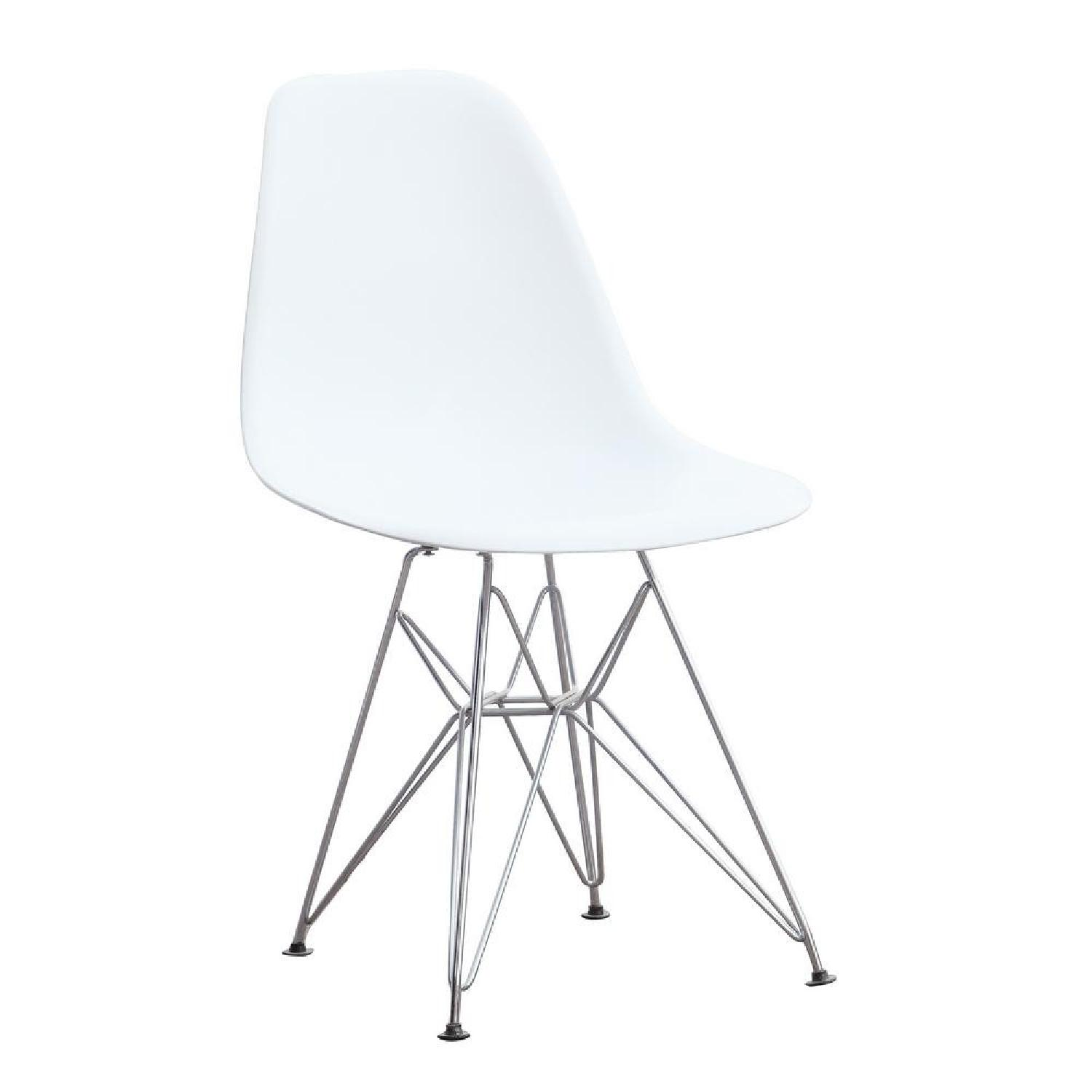 White Mid Century Chair w/ Wire Base - image-0