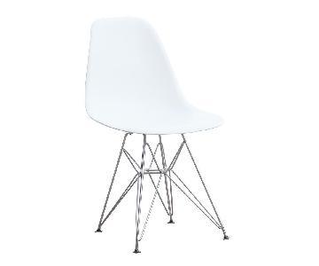 White Mid Century Chair w/ Wire Base
