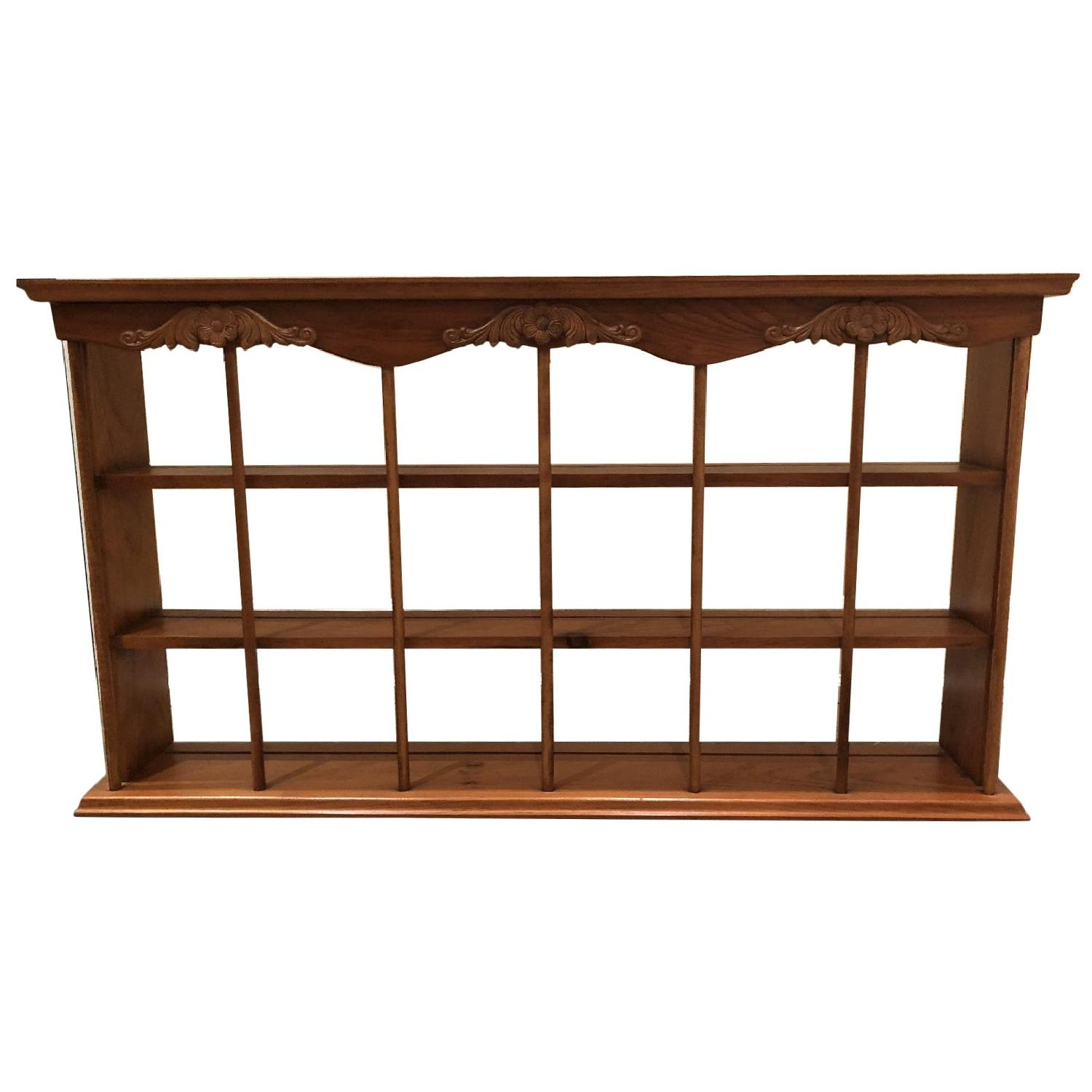 Home Decorators Collection Wooden Curio Shelf in Honey