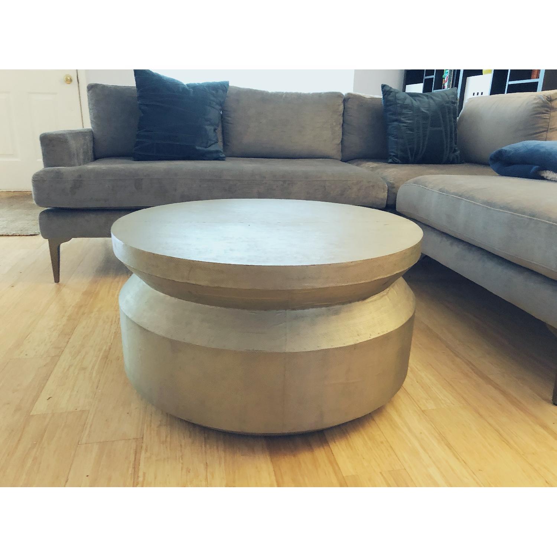 West Elm Antique Metallic Coffee Table - image-1
