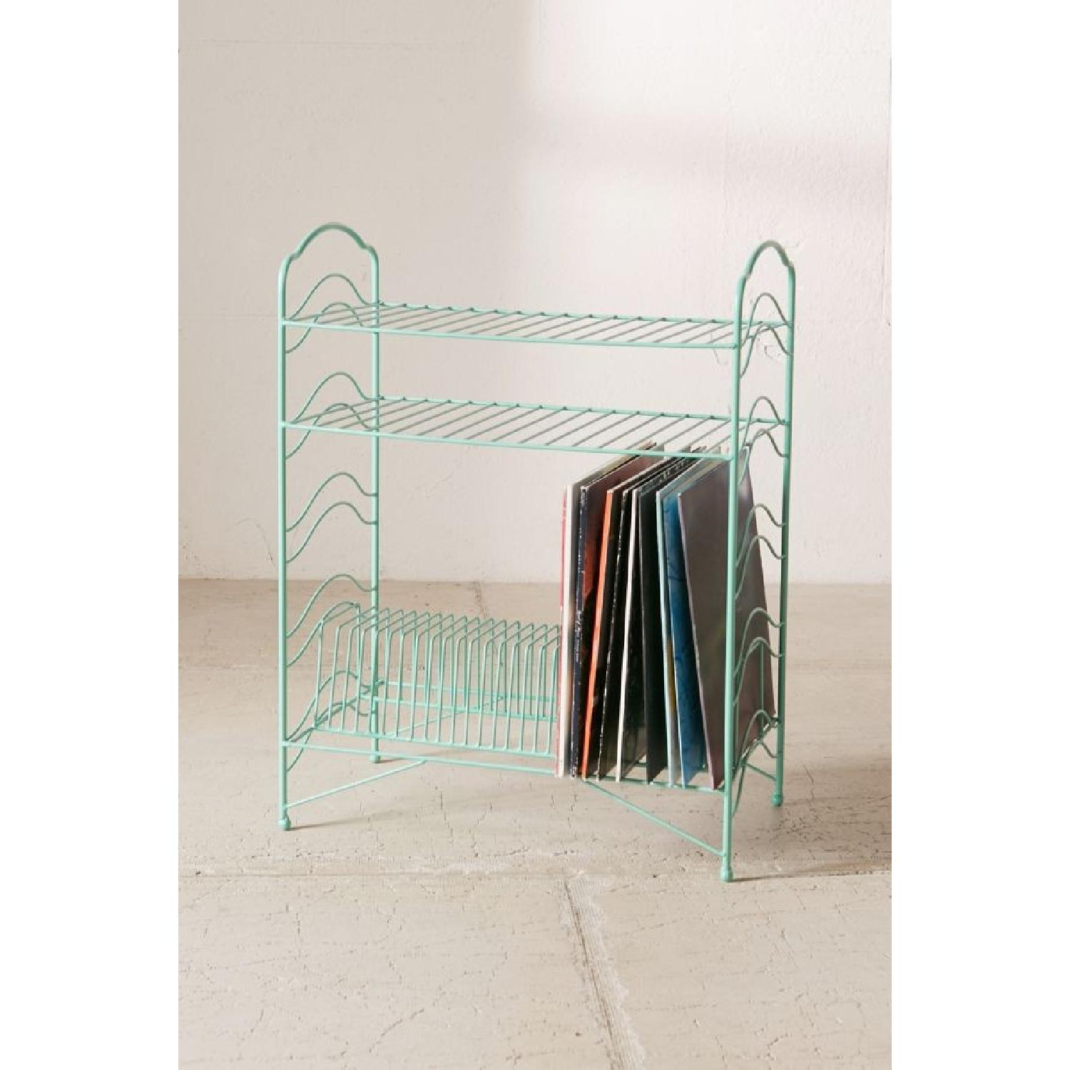 Urban Outfitters Teal Vinyl Record Storage Shelf - image-1