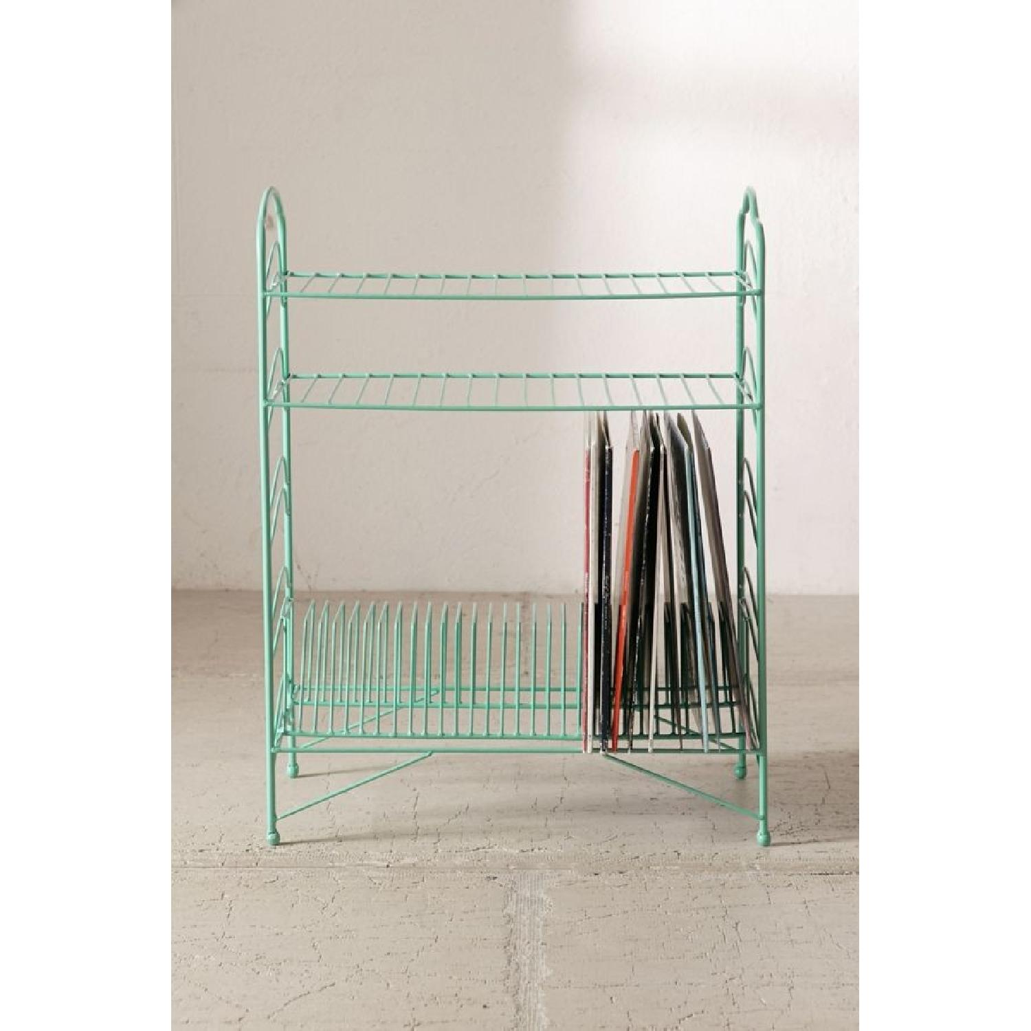 Urban Outfitters Teal Vinyl Record Storage Shelf - image-2