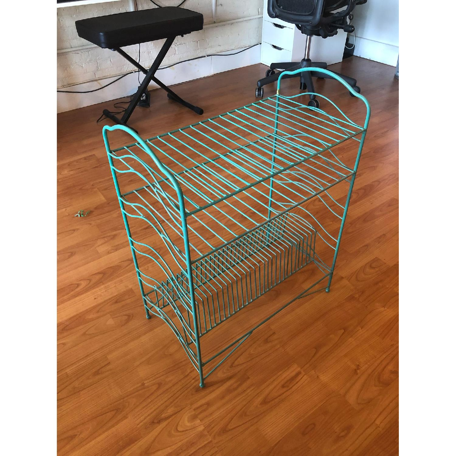 Urban Outfitters Teal Vinyl Record Storage Shelf - image-4