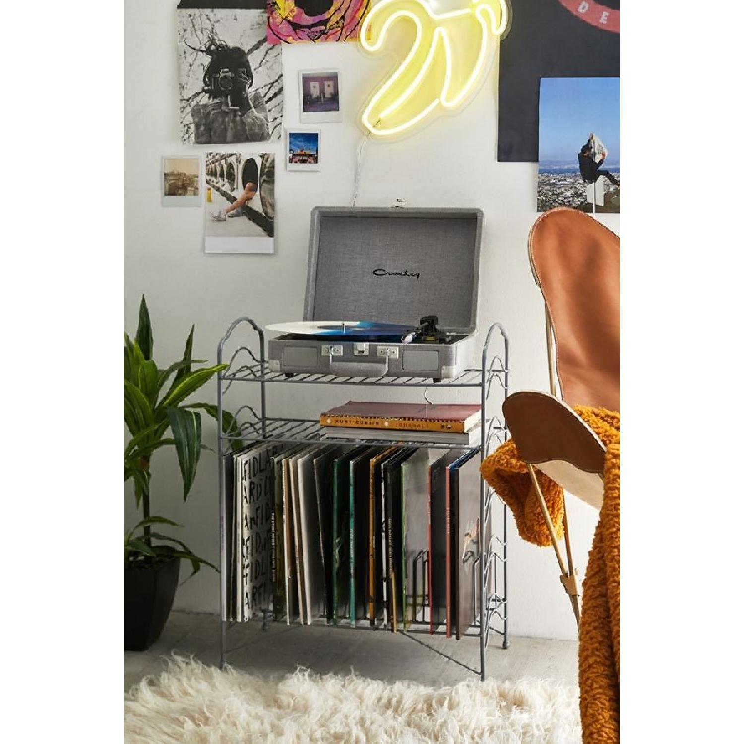 Urban Outfitters Teal Vinyl Record Storage Shelf - image-5