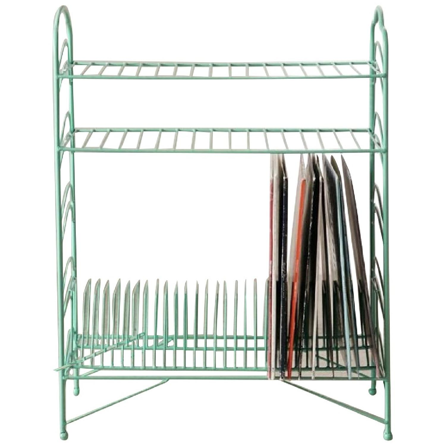 Urban Outfitters Teal Vinyl Record Storage Shelf - image-0